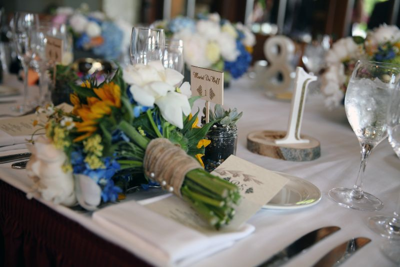 Table Number, Blue Yellow Bouquet